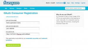 Form to register an application