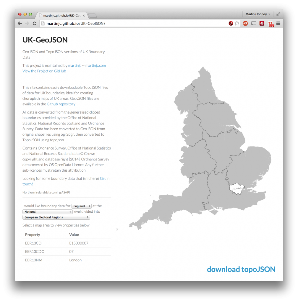 Browser for the UK topoJSON stored in the Github repository